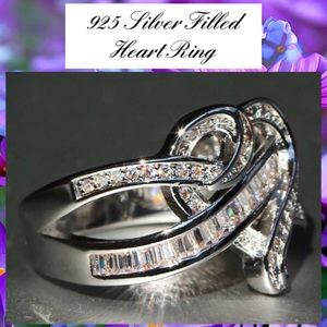 Baguette Paved Twisted Spilt Band Heart 925 Ring